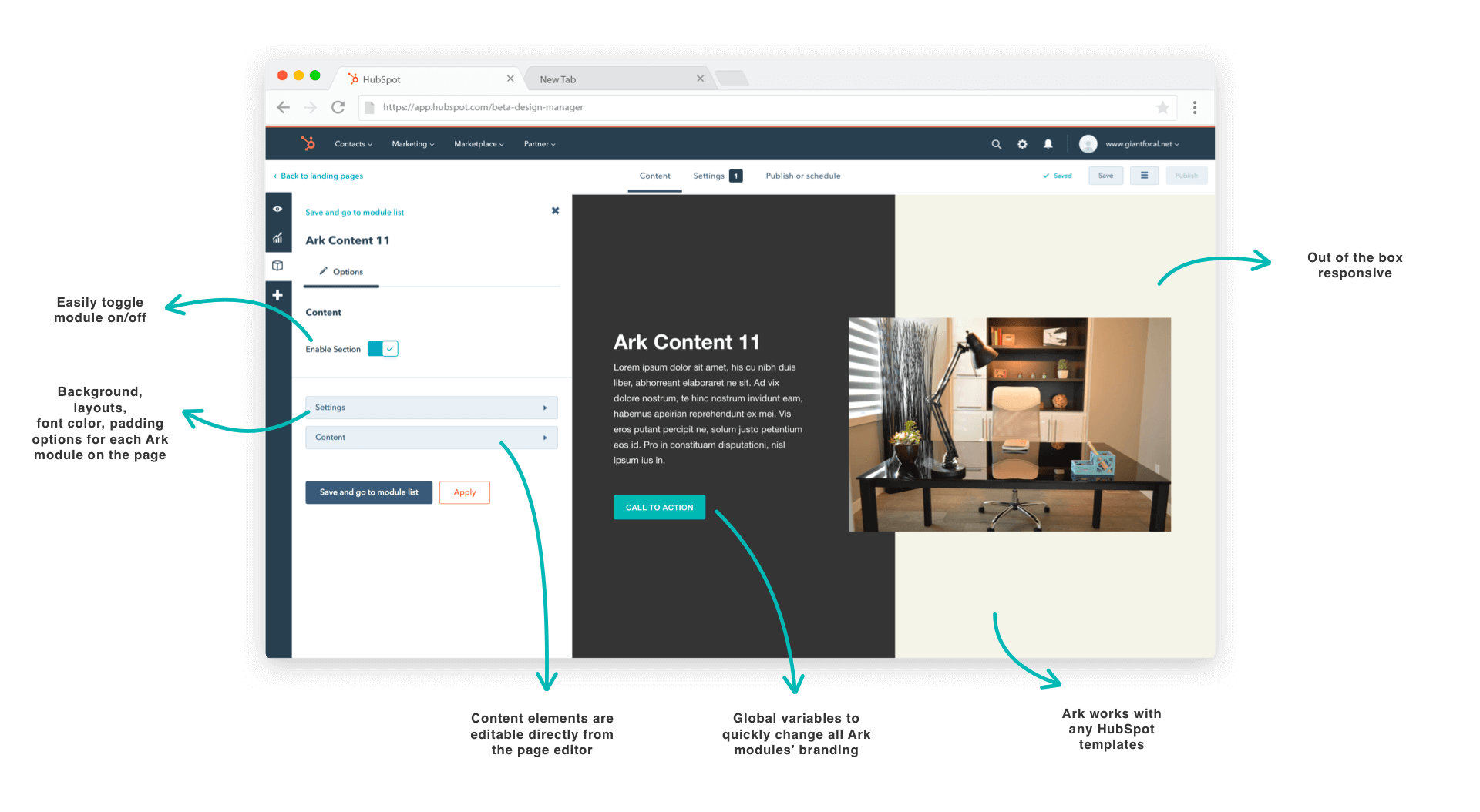 Ark HubSpot modules Features